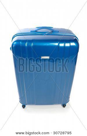 moderne Blaue Reise Koffer isoliert auf weiss