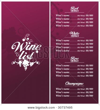 wine list menu card design vector photo bigstock. Black Bedroom Furniture Sets. Home Design Ideas