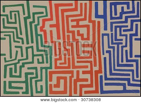 Three Color Maze Design