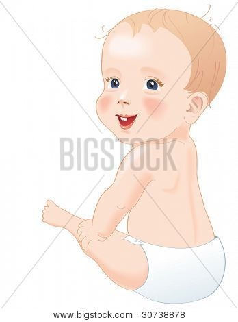 Adorable baby in diapers smiling, sitting with back to camera with turned head, isolated over white. Vector illustration