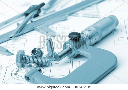 The Plan Industrial Details, A Screws, Caliper, Divider,micrometer