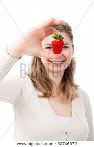 Happy Woman With Juicy Fresh Strawberry