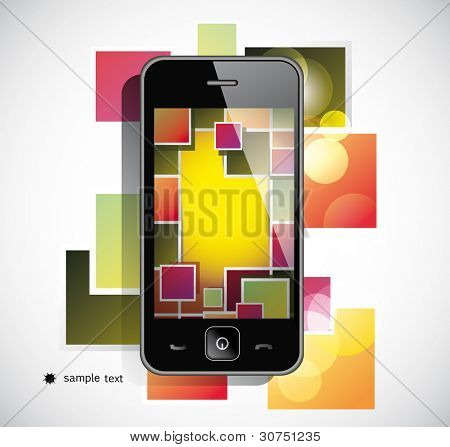 Black  smart phone on white background
