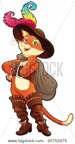 Puss in boots. Cartoon character, isolated object.