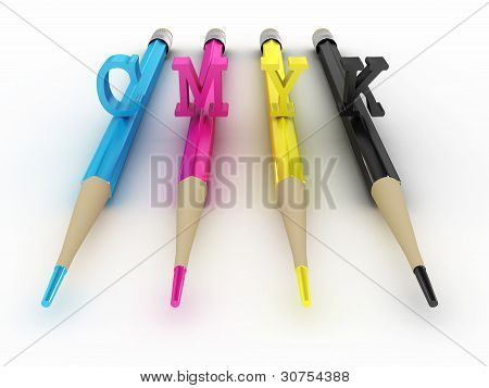 Colorful Pencils Cmyk Isolated On White Background. 3D Image