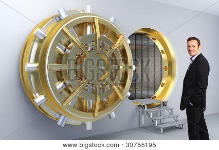 smiling man and vault door background