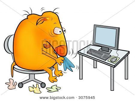 Kreatur mit einem kalten, arbeiten im Büro