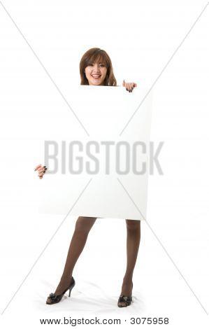 Beautiful Woman Holding A Billboard.