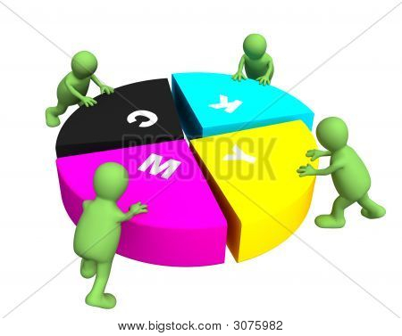 Four Puppets Collecting A Palette Cmyk