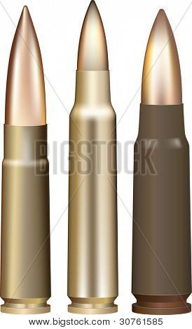 Three rifle bullets. Vector illustration.