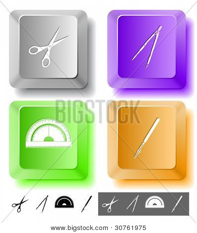 Education icon set. Scissors, ruling pen, protractor, caliper. Computer keys. Vector illustration.