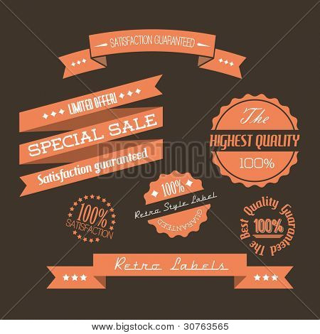 Vector Old red retro vintage elements (quality, sale, guaranty)