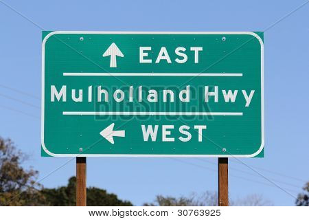 Mulholland Highway sign near Los Angeles California.