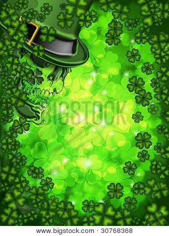 Skull On Shamrock Four Leaf Clover Background Vertical