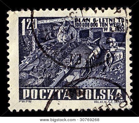 POLAND-CIRCA 1951:A stamp printed in POLAND shows image of Coal mining, circa 1951.