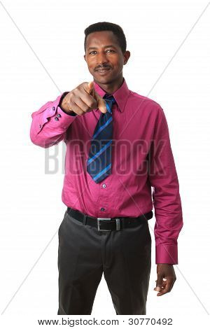 Afro American Businessman With A Tie Isolated