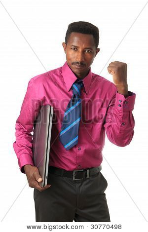 Black Afro American Businessman With Tie And Computer.