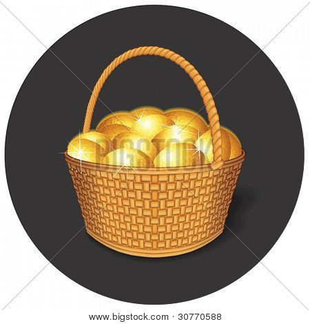 Vector Easter Basket with Golden Eggs