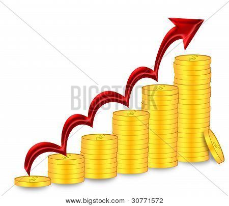 Stacks Of Gold Coins With Red Arrow