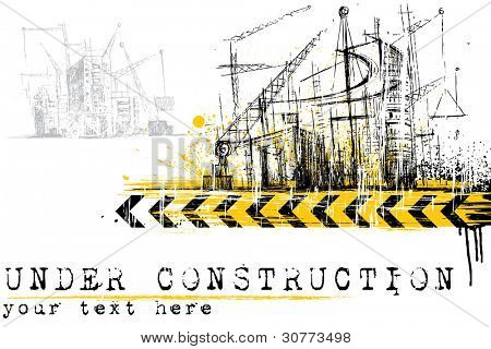 illustration of under construction site with building