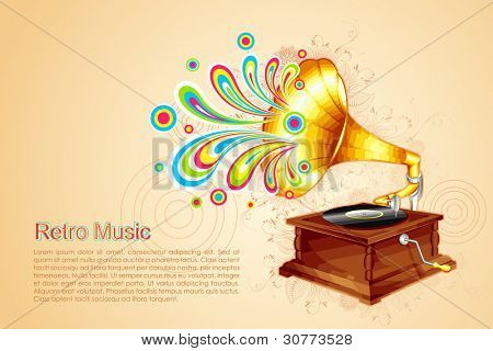 illustration of colorful swirl coming out of antique gramophone