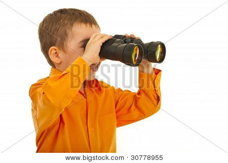 Laughing Boy Looking Through Binocular