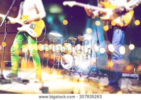 poster of Abstract Musical Background. Playing Guitar And Music Concert Concept. Live Music And Rock Band On S