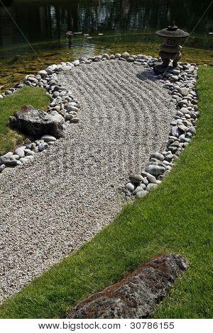 Japanese Garden With A Stone Lantern