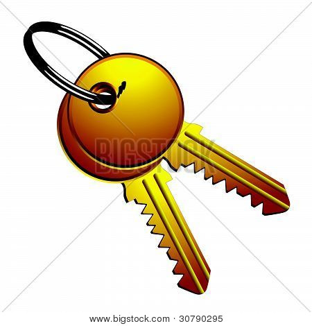 Golden Keys On Metallic Ring