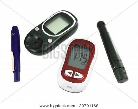 Glucometer For Checking Blood Sugar Levels Isolated On A White Background