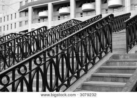 Modern Architecture. Stairs With Metal Railing