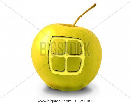 Apple With A Window On A White Background