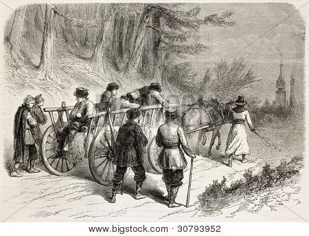 Polish wounded insurgents on a carriage going towards Michalowice. Created by Godefroy-Durand, published on L'Illustration, Journal Universel, Paris, 1863