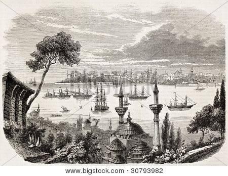 Sultan departure from Constantinople towards Egypt. Created by Forest, published on L'Illustration, Journal Universel, Paris, 1863