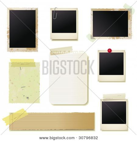 Vintage photo frame and paper set. Vector