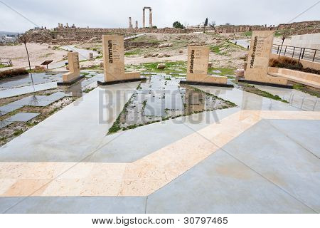 Historical Area On Antique Citadel In Amman
