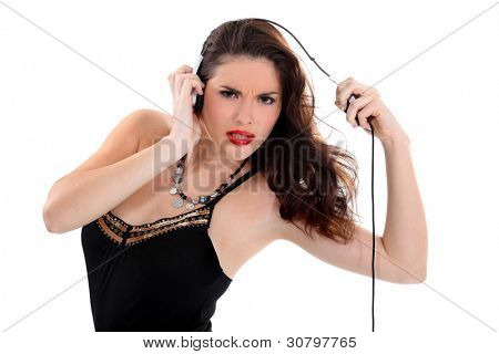 sexy woman with headset grimacing