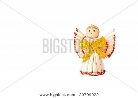 Handmade Christmas Decoration Angel From Straw, Traditional Czech Souvenir, Isolated On White