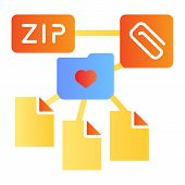 Zip Folder Flat Icon. Archive Folder Color Icons In Trendy Flat Style. Computer Folder Gradient Styl poster