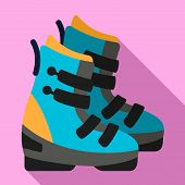Ski Boots Icon. Flat Illustration Of Ski Boots Vector Icon For Web Design poster