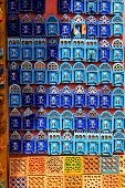 Souvenirs And Gifts On The Streets Of Chefchaouen. Beautiful Magnets On The Streets Of Morocco. Moro poster