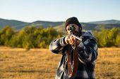 Hunter With Shotgun Gun On Hunt. Hunting Gear - Hunting Supplies And Equipment poster
