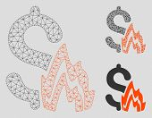 Mesh Fire Disaster Model With Triangle Mosaic Icon. Wire Frame Triangular Mesh Of Fire Disaster. Vec poster