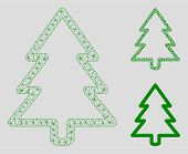 Mesh Fir-tree Model With Triangle Mosaic Icon. Wire Carcass Triangular Mesh Of Fir-tree. Vector Mosa poster