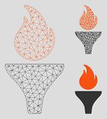Mesh Fire Torch Model With Triangle Mosaic Icon. Wire Frame Polygonal Mesh Of Fire Torch. Vector Mos poster