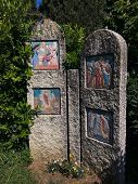 Pedestrian Path With Via Crucis Of The Sanctuary Of Madonna Di Lourdes Verona Italy. The Spiritual I poster