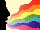 picture of exhale  - Face silhouette exhaling a colorful rainbow wave - JPG
