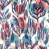 Coral Polyps Seamless Pattern. Paint Splashes Drops Watercolor Background. Aquarium Water Plants Sum poster