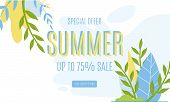 Summer Sales Advertising Banner Up To 75 Percent. Vector Cartoon Foliage, Promotion Text On White Il poster