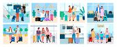 Traveling People, Senior Man And Woman, Couple With Baggage, Friends On Voyage Airport Halls And Tra poster
